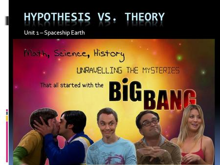 Unit 1 – Spaceship Earth. Theory vs. Hypothesis Hypothesis  What is a hypothesis:  Is a guess as to why something happens  A creative idea as to how.