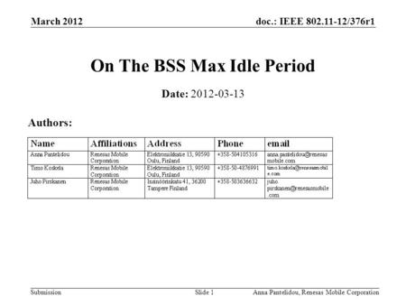 Doc.: IEEE 802.11-12/376r1 Submission March 2012 Anna Pantelidou, Renesas Mobile CorporationSlide 1 On The BSS Max Idle Period Date: 2012-03-13 Authors:
