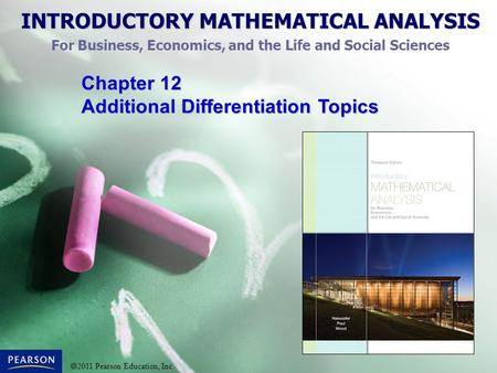 Chapter 12 Additional Differentiation Topics.