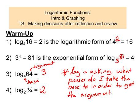 Logarithmic Functions: Intro & Graphing TS: Making decisions after reflection and review Warm-Up 1) log 4 16 = 2 is the logarithmic form of 4 ░ = 16 2)3.