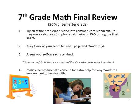 7th Grade Math Final Review (20 % of Semester Grade)