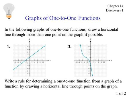 Graphs of One-to-One Functions In the following graphs of one-to-one functions, draw a horizontal line through more than one point on the graph if possible.