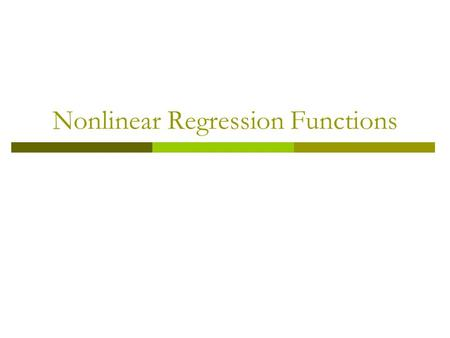 Nonlinear Regression Functions