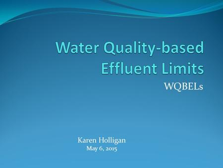 WQBELs Karen Holligan May 6, 2015. WQBELs – A Four-Piece Puzzle Numerical criteria (toxic pollutants) <strong>Water</strong> body <strong>quality</strong> Effluent fraction Bioavailable.