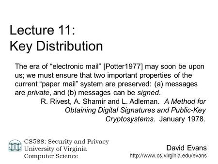 Lecture 11: Key Distribution