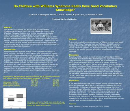 Do Children with Williams Syndrome Really Have Good Vocabulary Knowledge? Jon Brock, Christopher Jarrold, Emily K. Farran, Glynis Laws, & Deborah M. Riby.