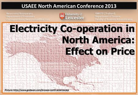Electricity Co-operation in North America: Effect on Price Electricity Co-operation in North America: Effect on Price.