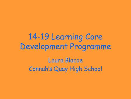 14-19 Learning Core Development Programme Laura Blacoe Connah's Quay High School.