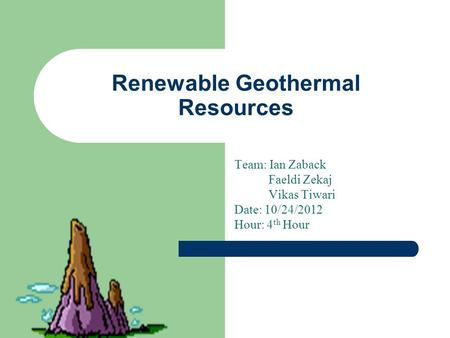 Renewable Geothermal Resources