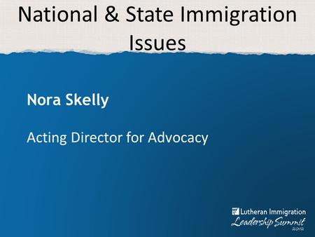 National & State Immigration Issues Nora Skelly Acting Director for Advocacy.