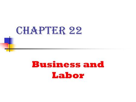 Chapter 22 Business and Labor. Types of Businesses 1. Sole Proprietorships 2. Partnerships 3. Corporations.