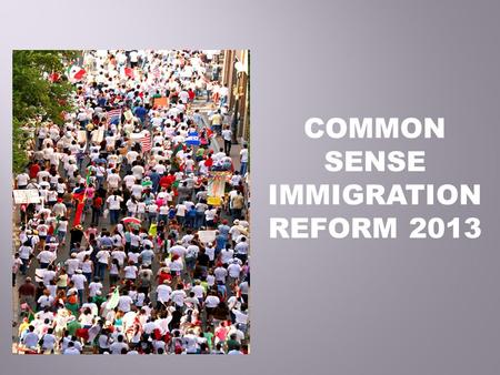 COMMON SENSE IMMIGRATION REFORM 2013. To empower low-income immigrants and refugees in Santa Clara County through direct services, community organizing.