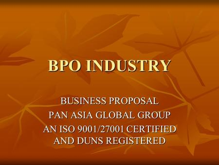 AN ISO 9001/27001 CERTIFIED AND DUNS REGISTERED