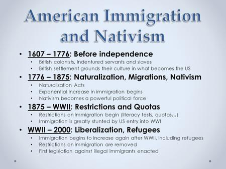 nativists calling for restriction of immigrants essay