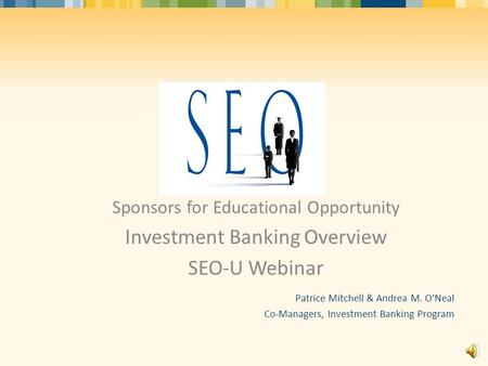 Investment Banking Overview SEO-U Webinar
