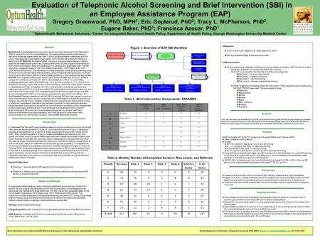 Evaluation of Telephonic Alcohol Screening and Brief Intervention (SBI) in an Employee Assistance Program (EAP) Gregory Greenwood, PhD, MPH 1 ; Eric Goplerud,