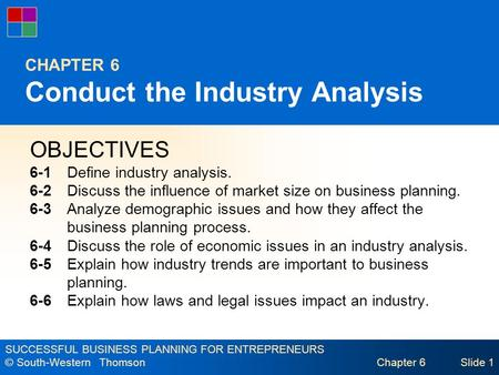 SUCCESSFUL BUSINESS PLANNING FOR ENTREPRENEURS © South-Western Thomson Chapter 6Slide 1 CHAPTER 6 Conduct the Industry Analysis OBJECTIVES 6-1Define industry.
