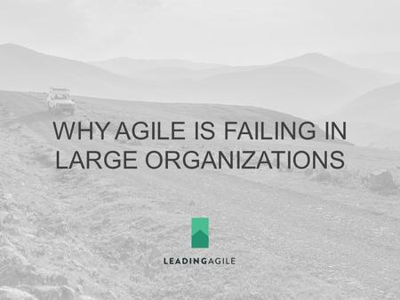 WHY AGILE IS FAILING IN LARGE ORGANIZATIONS. 404-312-1471  twitter.com/mcottmeyer facebook.com/leadingagile.