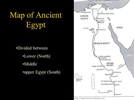 Divided between Lower (North) Middle upper Egypt (South) Map of Ancient Egypt.