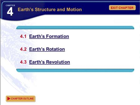EXIT CHAPTER CHAPTER 4.1 Earth's Formation 4.2 Earth's Rotation 4.3 Earth's Revolution CHAPTER OUTLINE Earth's Structure and Motion.