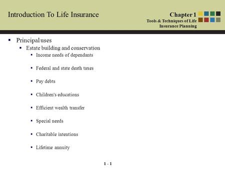 1 - 1 Introduction To Life Insurance  Principal uses  Estate building and conservation  Income needs of dependants  Federal and state death taxes 