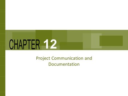 Project Communication and Documentation 12. Chapter Concepts Suggestions for enhancing personal communication, such as face-to-face discussions and written.