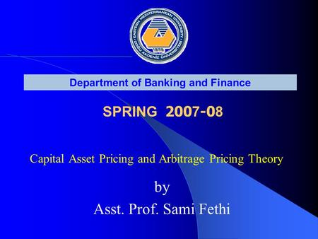 the capital asset pricing theory The capital asset pricing model (capm) relates the returns on individual assets or entire portfolios to the return on the market as a whole it introduces the concepts of specific risk and systematic risk.