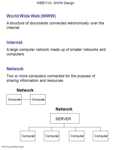 WEB111A: WWW Design Web11a_planning_01.ppt World Wide Web (WWW) A structure of documents connected electronically over the Internet Internet A large computer.
