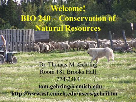 Dr. Thomas M. Gehring Room 181 Brooks Hall 774-2484  Welcome! BIO 240 – Conservation of Natural.