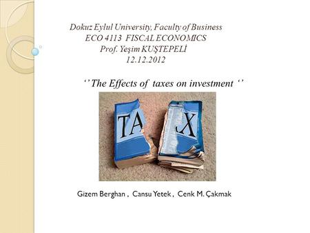 Dokuz Eylul University, Faculty of Business ECO 4113 FISCAL ECONOMICS Prof. Yeşim KUŞTEPELİ 12.12.2012 '' The Effects of taxes on investment '' Gizem Berghan,