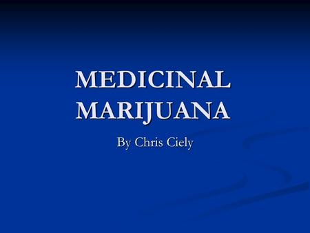 "MEDICINAL MARIJUANA By Chris Ciely. In 2010 the Congressional Research Service stated: ""Two bills that have been introduced in recent Congresses are."
