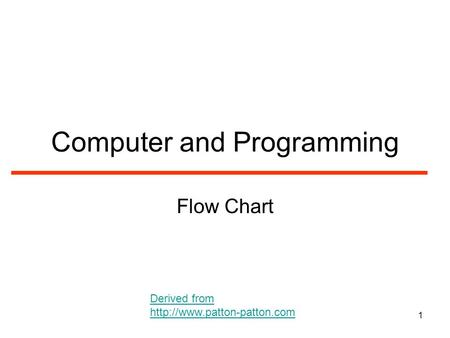 1 Computer and Programming Flow Chart Derived from