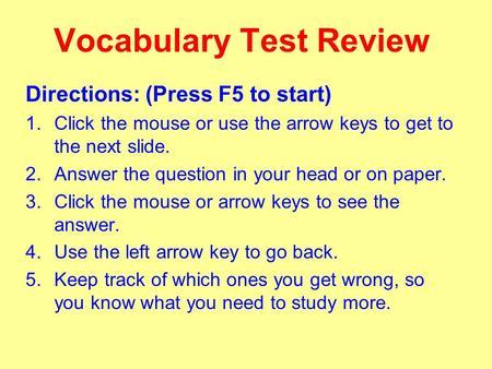Difficult Vocab Quiz