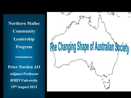 Title of Presentation Northern Mallee Community Leadership Program Presentation by Peter Norden AO Adjunct Professor RMIT University 19 th August 2013.
