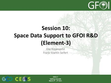 Ake Rosenqvist Frank Martin Seifert Session 10: Space Data Support to GFOI R&D (Element-3) SDCG-7 Sydney, Australia March 4 th – 6 th 2015.