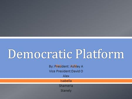  By: President: Ashley A Vice President:David O Alex Isabella Shameria Stanely.