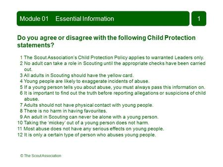 © The Scout Association Do you agree or disagree with the following Child Protection statements? 1 The Scout Association's Child Protection Policy applies.