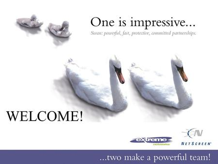 WELCOME!. Page: 2 Agenda One is impressive – two make a powerful team! Networking solutions, the Extreme way Coffee Break Security solutions, the NetScreen.