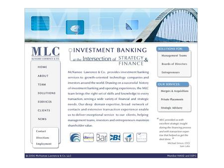 International Investment Banking Sectors Sector Focus Technology: software Communications and Media Clean Tech and Energy McNamee Lawrence & Co. provides.
