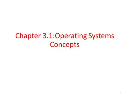 Chapter 3.1:Operating Systems Concepts 1. A Computer Model An operating system has to deal with the fact that a computer is made up of a CPU, random access.