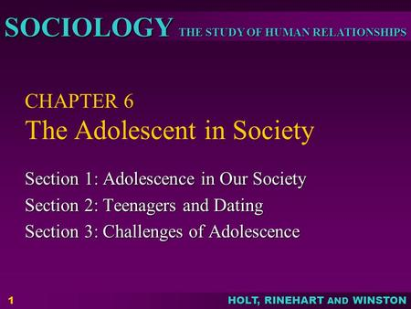 THE STUDY OF HUMAN RELATIONSHIPS SOCIOLOGY HOLT, RINEHART AND WINSTON 1 CHAPTER 6 The Adolescent in Society Section 1: Adolescence in Our Society Section.