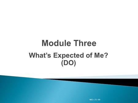 "What's Expected of Me? (DO) WE3-25-09. ""DO"" provides you with a vast set of skills to be effective in your position by employing the skills in the leadership."