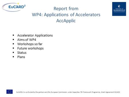 Report from WP4: Applications of Accelerators AccApplic  Accelerator Applications  Aims of WP4  Workshops so far  Future workshops  Status  Plans.