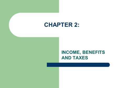 CHAPTER 2: INCOME, BENEFITS AND TAXES. 2-1 EARNED INCOME AND BENEFITS Complete the following vocabulary terms: Minimum Wage: Overtime Pay: Commission: