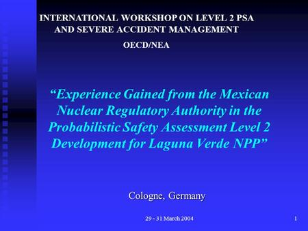 "29 - 31 March 20041 ""Experience Gained from the Mexican Nuclear Regulatory Authority in the Probabilistic Safety Assessment Level 2 Development for Laguna."