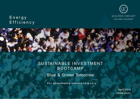 SUSTAINABLE INVESTMENT BOOTCAMP Blue & Green Tomorrow For investment professionals only April 2014 claudia Quiroz Energy Efficiency.