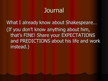 Journal What I already know about Shakespeare…