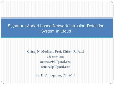 Chirag N. Modi and Prof. Dhiren R. Patel NIT Surat, India  Ph. D Colloquium, CSI-2011 Signature Apriori based Network.