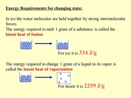 Energy Requirements for changing state: In ice the water molecules are held together by strong intermolecular forces. The energy required to melt 1 gram.
