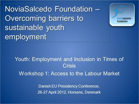 NoviaSalcedo Foundation – Overcoming barriers to sustainable youth employment Youth: Employment and Inclusion in Times of Crisis Workshop 1: Access to.